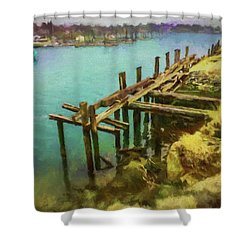Aged Docks From Winthrop Shower Curtain