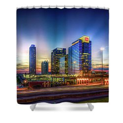 Shower Curtain featuring the photograph Aglow Atlanta Midtown Atlantic Station Sunset Art by Reid Callaway