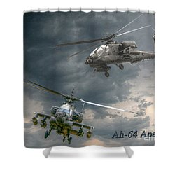 Ah-64 Apache Attack Helicopter In Flight Shower Curtain