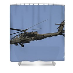 Ah-64 Apache In Flight Over The Baghdad Shower Curtain by Terry Moore