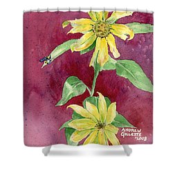 Shower Curtain featuring the painting Ah Sunflowers by Andrew Gillette