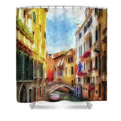 Shower Curtain featuring the digital art Ahh Venezia Painterly by Lois Bryan