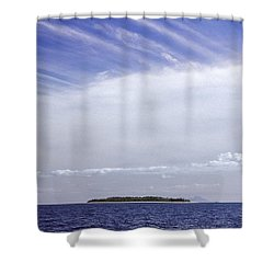 Shower Curtain featuring the photograph Ahoy Bounty Island Resort by T Brian Jones