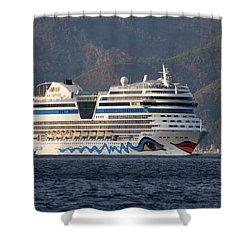 Aida Stella Cruise Ship Leaving Marmaris Shower Curtain