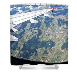 Shower Curtain featuring the photograph Air Berlin Over Switzerland by Travel Pics