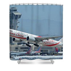 Shower Curtain featuring the photograph Air China Boeing 777-39ler B-2035 Smiling China Los Angeles International Airport May 3 2016 by Brian Lockett