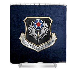 Air Force Special Operations Command -  A F S O C  Shield Over Blue Velvet Shower Curtain by Serge Averbukh