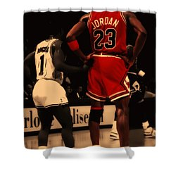 Air Jordan And Muggsy Bogues Shower Curtain
