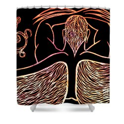 Shower Curtain featuring the drawing Fire Spirit by Jamie Lynn