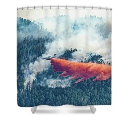 Air Tanker On Crow Peak Fire Shower Curtain