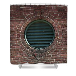 Shower Curtain featuring the photograph Air Vent In Brick Wall by Bonnie Muir