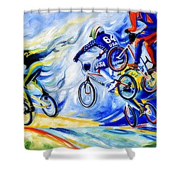 Shower Curtain featuring the painting Airborne by Hanne Lore Koehler