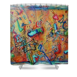 Digital Landscape, Airbrush 1 Shower Curtain by Pierre Van Dijk