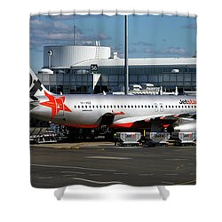 Airbus A320-232 Shower Curtain by Tim Beach