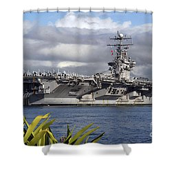 Aircraft Carrier Uss Abraham Lincoln Shower Curtain by Stocktrek Images
