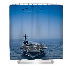 Shower Curtain featuring the photograph Aircraft From Carrier Air Wing by Celestial Images