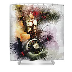 Aircraft Girl Shower Curtain