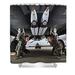 Airmen Check The Gbu-39 Small Diameter Shower Curtain by Stocktrek Images