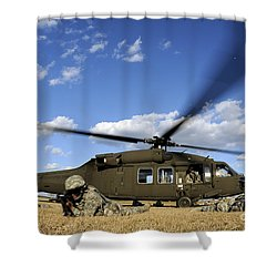 Airmen Provide Security In Front Shower Curtain by Stocktrek Images