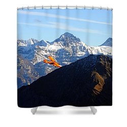 Airplane In Front Of The Alps Shower Curtain