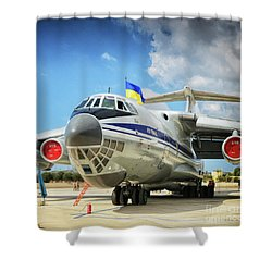Airplane In Malta Airport Shower Curtain by Stephan Grixti
