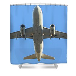 Airplane Isolated In The Sky Shower Curtain