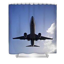Airplane Landing Shower Curtain by Teemu Tretjakov