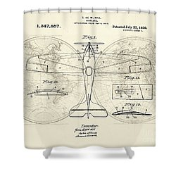Airplane Patent Collage Shower Curtain by Delphimages Photo Creations