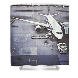 An Airport And Airplane Shower Curtain