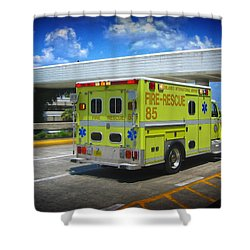 Shower Curtain featuring the photograph Airport Ambulance by RKAB Works