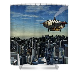 Airship Over Future City Shower Curtain by Ken Morris