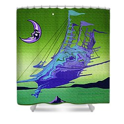 Airship Under A Smiling Moon  Shower Curtain
