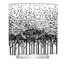 Aki Monochrome Shower Curtain by Cynthia Decker