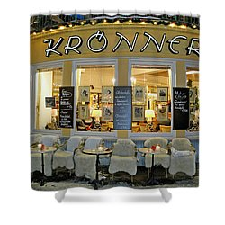 Al Fresco Dining Bavarian Style Shower Curtain by Robert Meyers-Lussier