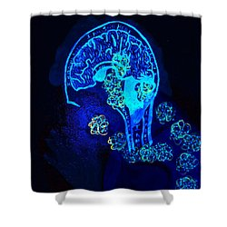 Al In The Mind Black Light View Shower Curtain by Lisa Brandel