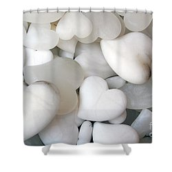 Alabaster Hearts Shower Curtain