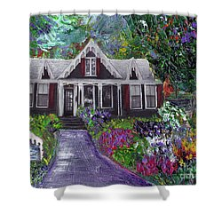 Alameda 1854 Gothic Revival - The Webster House Shower Curtain by Linda Weinstock