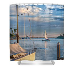 Alamitos Bay Inlet Sailboat Shower Curtain