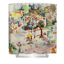 Shower Curtain featuring the painting Alamo From Hotel Window by Becky Kim