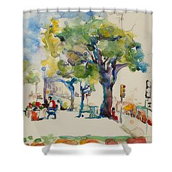 Alamo Plaza Shower Curtain by Becky Kim