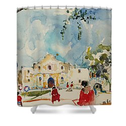 Alamo San Antonio Shower Curtain by Becky Kim