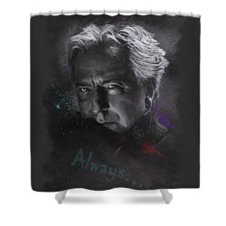 Shower Curtain featuring the drawing Alan Rickman by Julia Art