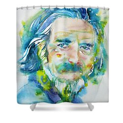 Shower Curtain featuring the painting Alan Watts - Watercolor Portrait.4 by Fabrizio Cassetta