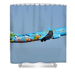 Alaska Boeing 737-990 N318as Disneyland Phoenix Sky Harbor January 19 2016 Shower Curtain by Brian Lockett