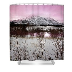 Alaska Range Pink Sky Shower Curtain