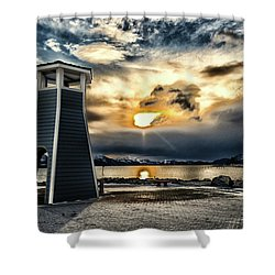 Shower Curtain featuring the photograph Alaska Starts Here Seward Alaska by Michael Rogers