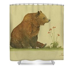 Alaskan Grizzly Bear Shower Curtain by Juan Bosco