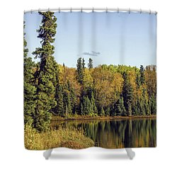 Alaskan Lake In Autumn Shower Curtain