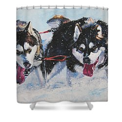 Alaskan Malamute Strong And Steady Shower Curtain by Lee Ann Shepard