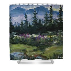 Shower Curtain featuring the painting Alaskan Woods by Yulia Kazansky